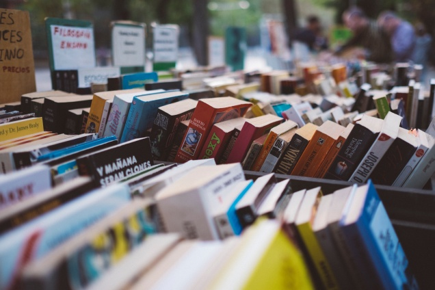A photo of books for sale